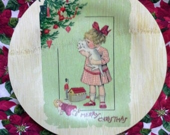 Merry Christmas Greeting Card/Wood Print on bamboo Plate/Little Girl with a cat and toys/Christmas Morning