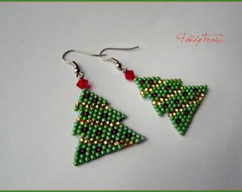 Christmas Tree Earrings, Christmas jewelry, xmas tree holiday earrings green jewelry, Christmas gift