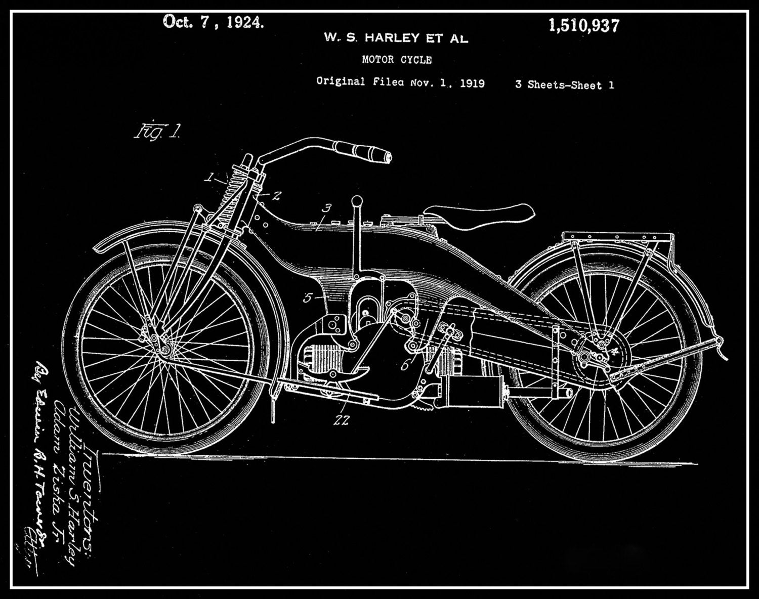 Harley Davidson Patent Print Matted And Framed Or Just