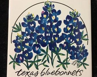 Texas Bluebonnets Ceramic Tile, Signed Kathryn Designs 1995.