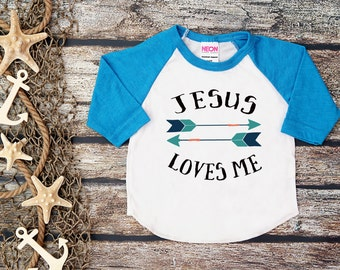 Jesus Loves Me Shirt; Christian Shirt; Baby Boy Shirt; God Baseball Tee; Jesus Shirt; Kids Christian Shirt; Christian Toddler Shirt; Jesus