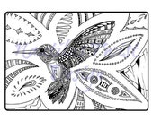 Hummingbird Colouring Page, printable PDF digital download, Coloring in page, Adult, Kids