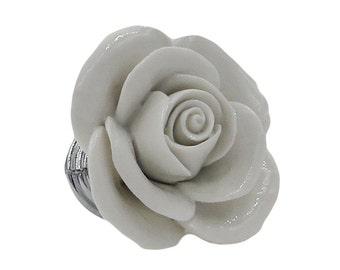 White Rose Small Ceramic Decorative Dresser Drawer, Cabinet Drawer or Door Knob Pull - BO5