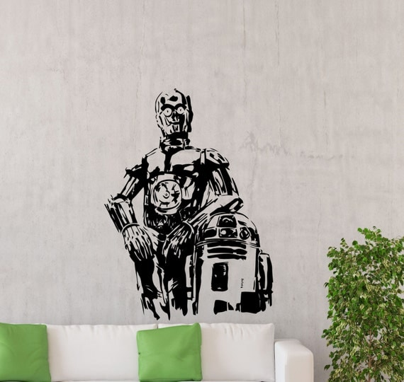 C3po r2d2 star wars wall decal r2 d2 c 3po droid vinyl sticker - Pochoir star wars ...