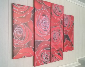 4 Panel Crystal Detailed Designer Canvas Wall Art