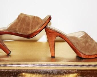 70s Vintage Beige Suede Platform Slides