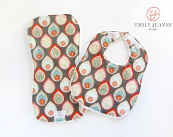 Bib/Burp Cloth Set for baby - set of 1 Chenille-Backed Bib and 1 Contoured Burp Cloth - Pluvia Collection