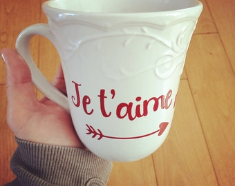 "Decal ""Je t'aime mon amour"" for the coffee mug, mason jar or thermos"