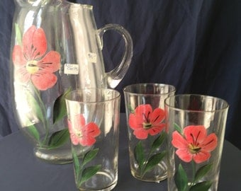 Hand painted glass pitcher with 3 glasses