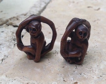 Hand Carved Boxwood Ojimi Bead - Monkey in Bamboo Ring