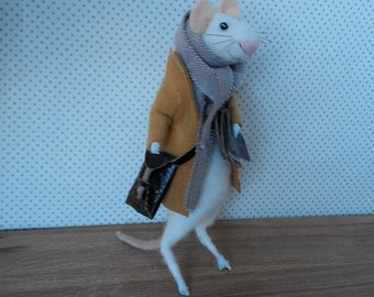 Needle Felted Little Winter Mouse in a Mustard Coat 18cm