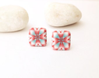 Mint and coral stud earrings , Polymer Clay Earrings , Stud earrings , Modern earrings, Contemporary earrings, Geometric earrings