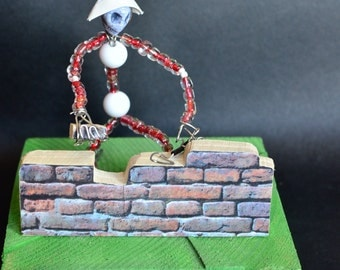 Skeleton mason wall, brick, building, house,The Wall,another brick, puppet miniature, body ornament, gift, handmade Made in Italy
