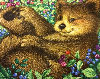 Beary Berry Patch by Lisa mcCure crib head board panel.