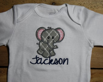 Embroidered Elephant Bodysuit Personalized Monogrammed Applique