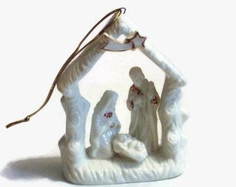 Small Holy Family Nativity Ornament - Porcelain Holy Family- Beautiful Christmas Ornament