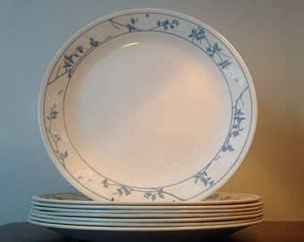 Set of 8 Corelle Dinner Plates - First of Spring Pattern / Blue & White Floral on Beige Ivory Background / Shatterproof Glass Dinnerware