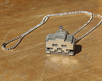 Concrete SPACE INVADER Pendant Necklace with Silver Leaf