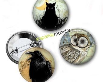 "Creepy Critters v3.0 buttons - 1"" pinbacks, set of 3, pin back, black cat, owl, raven, goth"