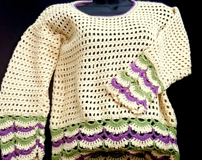 Beige, Purple, Green Women's Jumper, Women's Sweater, Women's clothing gift for her, ready to ship, Gift idea, Gift for wife, pullover