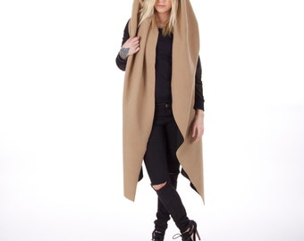 CAMEL Coat / Camel Cape / Wrap Coat / Loose Coat / Coat hooded / PLUS SIZES