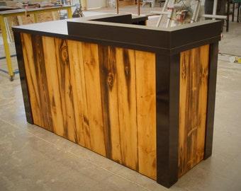 L-Shape Santa Cruz Sales Counter with Black Laminate Top/Surfaces