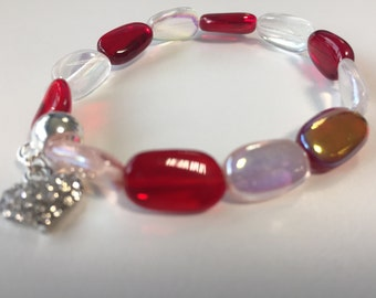 Pink and Red oval twist beaded bracelet