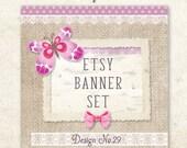 Etsy Shop Set / Etsy Premade Etsy Banner / Etsy Shop Banner / Vintage Banner Set / Butterfly Banner / Bow Banner