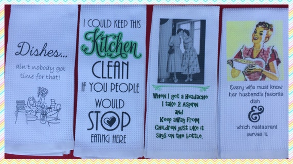 Wedding Gift Kitchen Set : Set of (4)~Funny Kitchen Towels-bridal gift-housewarming gift-co ...