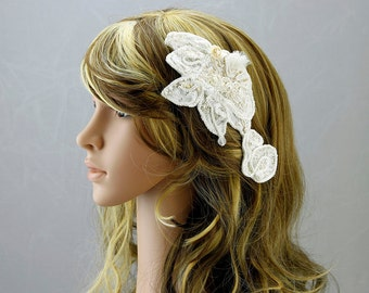 Ivory Apricot Headpiece wedding Accessory