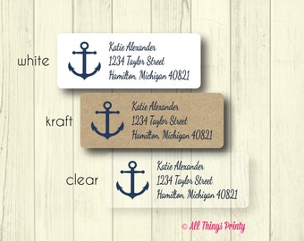 Anchor Address Labels - Custom Everyday Personalized Nautical Navy Blue Return Mailing Stickers - Matte White, Kraft, or Clear Gloss