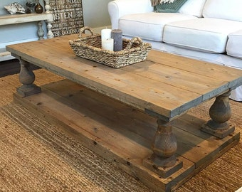 Superb Rustic Baluster Wide Plank Coffee Table