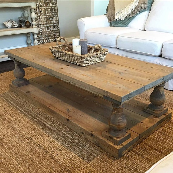 Rustic baluster wide plank coffee table Wide coffee table