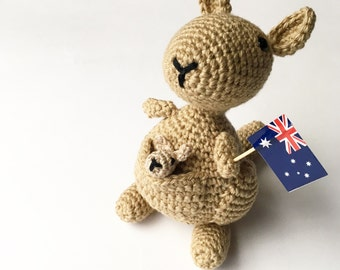 Kangaroo Toy, Kangaroo Amigurumi, Australian Toy, Marsupial Plush, Crochet Kangaroo, Knitted Kangaroo, Australian Souvenir