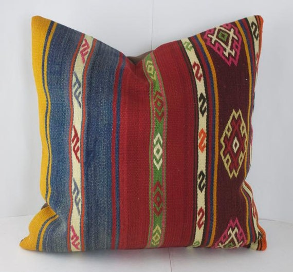 Colorful Turkish Kilim Pillow with Traditional Design Throw