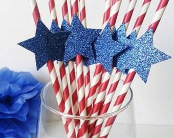 Patriotic. Fourth of July. Patriotic Straws. Red White and Blue. Paper Straws. Star Straws. 4th of July Straws. Patriotic Birthday