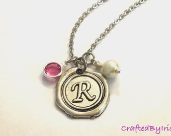 Initial Birthstone Necklace, Personalized Bridesmaids Necklace, Bridesmaids Necklace, Charm Necklace, Bridesmaids gift, Personalized Jewelry