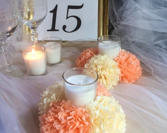 Tissue Paper Flowers - Set of 4 (16 pc flowers) - Set of 6 (24 pc flowers) / Tissue Pom Poms / Candle Holder - French Vanilla & Peach