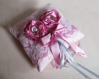 Pink ring pillow, pink taffeta ring holder, ring bearer, pink tie wedding pillow,  ping wedding decor, pink & ecru Wedding Decoration