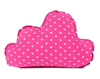 Fuchsia cloud pillow with hearts