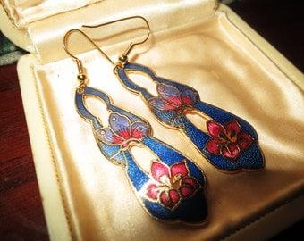 Beautiful 1970s vintage blue enamel cloisonne  butterfly  earrings