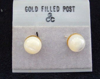 Beautiful pair of gold filled 6mm round Mother of Pearl earrings on posts for pierced ears