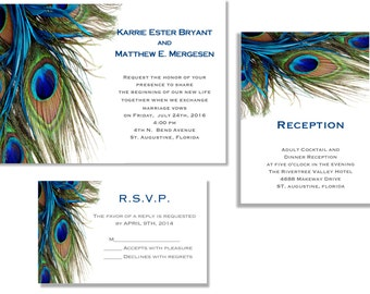Peacock wedding invitations Etsy