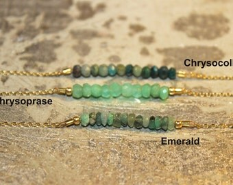 CAN BE CUSTOMIZED Vermeil Chrysoprase Emerald & Chrysocolla Beaded Necklace or Bracelet