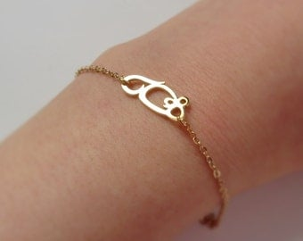 MOUSE bracelet in Arabic letter, K18 gold plated brass unique design, word picture motif jewelry