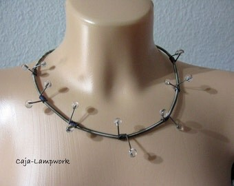 Barbed wire necklace, top covered with glass, Lampwork, shrill, exceptionally