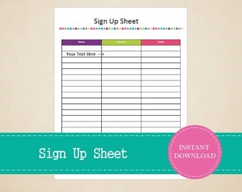 Sign Up Sheet   Printable And Editable   INSTANT PDF DOWNLOAD