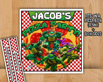 TMNT Pizza Box Label - PERSONALIZED - Printable Teenage Mutant Ninja Turtles Birthday Party Favor Birthday Supplies Invitation