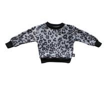 Unisex Children Leopard Sweater / Grey Leopard Sweater / Black Sweater / Animal Print Jumper / Boy Girl Sweater