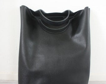 Oversized minimal black leather shopper tote bag
